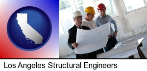 a structural engineer discussing plans with manager and foreman in Los Angeles, CA