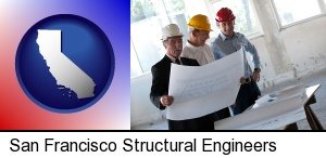 San Francisco, California - a structural engineer discussing plans with manager and foreman
