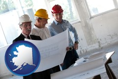alaska map icon and a structural engineer discussing plans with manager and foreman