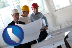 california a structural engineer discussing plans with manager and foreman