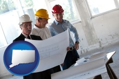 connecticut map icon and a structural engineer discussing plans with manager and foreman