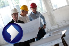 washington-dc map icon and a structural engineer discussing plans with manager and foreman