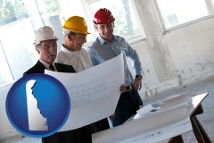 delaware map icon and a structural engineer discussing plans with manager and foreman