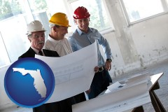 florida map icon and a structural engineer discussing plans with manager and foreman