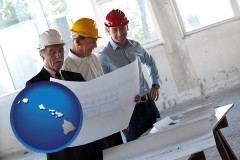 hawaii map icon and a structural engineer discussing plans with manager and foreman