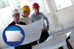 iowa map icon and a structural engineer discussing plans with manager and foreman