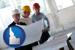 idaho map icon and a structural engineer discussing plans with manager and foreman