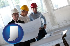 indiana map icon and a structural engineer discussing plans with manager and foreman