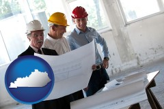 kentucky map icon and a structural engineer discussing plans with manager and foreman
