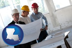 louisiana map icon and a structural engineer discussing plans with manager and foreman
