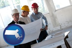 massachusetts map icon and a structural engineer discussing plans with manager and foreman