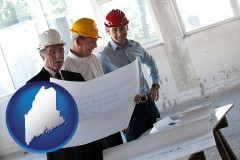 maine map icon and a structural engineer discussing plans with manager and foreman