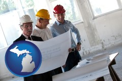 michigan map icon and a structural engineer discussing plans with manager and foreman