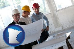 minnesota map icon and a structural engineer discussing plans with manager and foreman