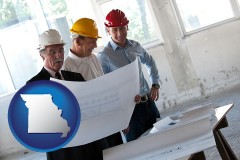 missouri map icon and a structural engineer discussing plans with manager and foreman