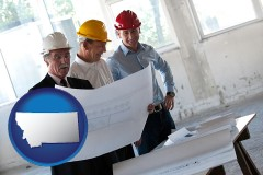 montana map icon and a structural engineer discussing plans with manager and foreman