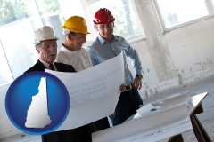 new-hampshire map icon and a structural engineer discussing plans with manager and foreman