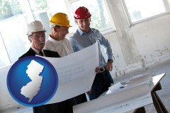 new-jersey map icon and a structural engineer discussing plans with manager and foreman