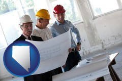 nevada map icon and a structural engineer discussing plans with manager and foreman