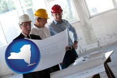 new-york map icon and a structural engineer discussing plans with manager and foreman