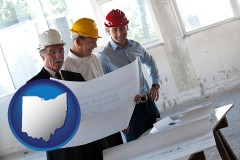 ohio map icon and a structural engineer discussing plans with manager and foreman