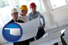 oklahoma map icon and a structural engineer discussing plans with manager and foreman