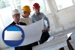 pennsylvania map icon and a structural engineer discussing plans with manager and foreman