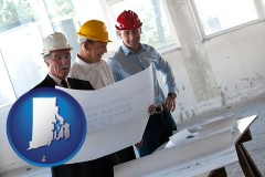 rhode-island map icon and a structural engineer discussing plans with manager and foreman