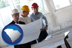 south-carolina map icon and a structural engineer discussing plans with manager and foreman