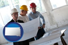 south-dakota map icon and a structural engineer discussing plans with manager and foreman