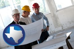 texas map icon and a structural engineer discussing plans with manager and foreman