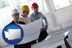 washington map icon and a structural engineer discussing plans with manager and foreman