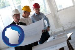 wisconsin map icon and a structural engineer discussing plans with manager and foreman