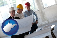 west-virginia map icon and a structural engineer discussing plans with manager and foreman