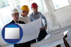 wyoming map icon and a structural engineer discussing plans with manager and foreman