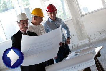 a structural engineer discussing plans with manager and foreman - with Washington, DC icon