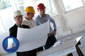 a structural engineer discussing plans with manager and foreman - with Rhode Island icon